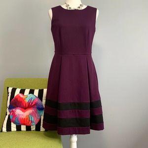 Calvin Klein Purple Stripe Fit & Flare Dress